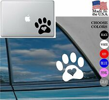 PAW HEART Vinyl Decal Sticker for Car Window Laptop Adopt Dog Cat Love Pet
