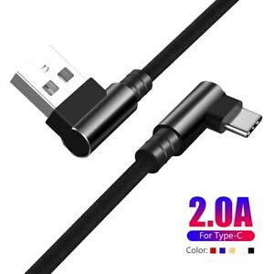 90°RIGHT ANGLE USB TYPE C FAST CHARGER CABLE DATA SYNC FOR SAMSUNG NOTE 10 S9 0