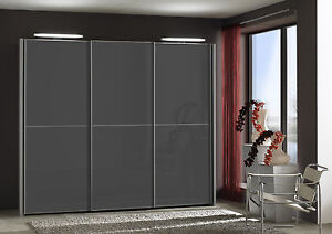 GERMAN MIAMI 150 SLIDING WARDROBE BEDROOM FITTED FREE GREY WHITE GRAPHITE GLASS