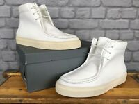 NORTHERN COBBLER MENS UK 10 EU 44 WHITE COBBLED LEATHER TRAINER BOOTS  RRP £150