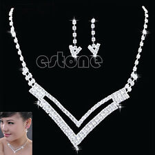 Elegant Bridal V Design Drop Necklace Earrings Set Crystal Wedding Jewellery Set