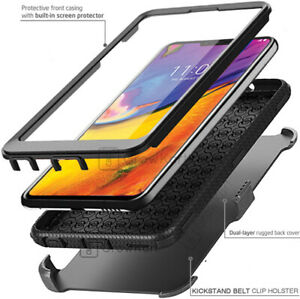 SHOCKPROOF TANK Phone Case Cover Clip Holster Stand + BUILT-IN SCREEN PROTECTOR
