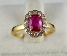 1.55 CTS NATURAL HEATED RUBY OVAL DIAMOND CUT LADIES RING IN 18K GOLD