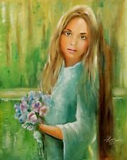 More details for portrait of a girl, eve. original oil painting, framed, wall art, framed