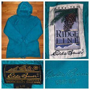 Eddie Bauer Ridge Line Gore Tex Women's Green Down Hooded Parka Size Large