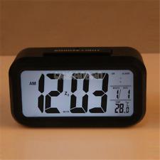 Digital Snooze Electronic LED Alarm Clock Backlight Time Calendar Thermometer G