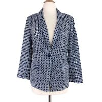 Chico's Women's Blue White Eyelet Long Sleeve Button Blazer Size Small NWT