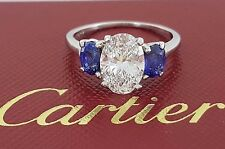 Cartier 3.31 ct Platinum Oval Diamond & Sapphire Engagement Ring 3-Stone Rt $85k