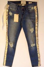Hint Women's Skinny  Ankle Jeans Distressed Sequins Shredded Sz 0 27  NWT $69.95