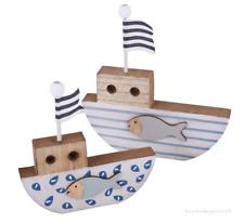 Segelboote Maritime Dekoration Holz Deko Fische Blau Weiss 16/20 cm 2 Stück Set