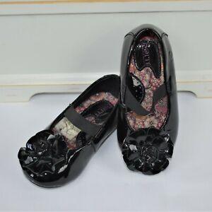 Born Girls Dress Shoes Black Patent Flower Mary Jane sz 5.5