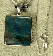 APATITE NATURAL LARGE SQUARE(ISH) PENDANT FROM INDIA WITH STERLING SILVER CHAIN