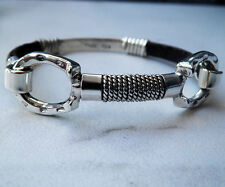 Classy Equine Horse Sterling Silver Horseshoe Bangle Bracelet Brown Snake Skin