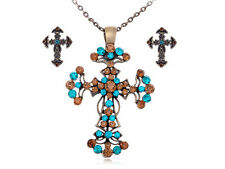 New Vintage Blue Color Topaz Crystal Rhinestone Cross Holy Pendant Earring Sets