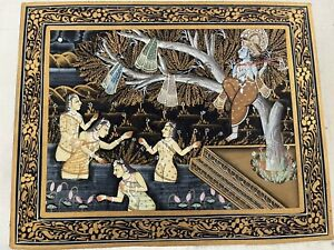 Finely Painted Indian Hindu God Krishna In Tree Miniature Painting Estate NR