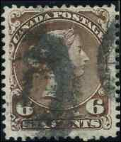 Canada #27a used F-VF 1868 Queen Victoria 6c brown Large Queen 2-ring '1' RF=2