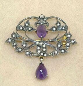 Brooch Amethyst, Diamond & Seed Bead Gold & Silver