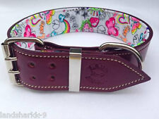 Violet Leather Dog Collar with Fluro Fun Peace & Love Inner Lining