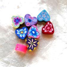 8 Perles FIMO POLYMÈRE - PETIT CŒUR 2 - Multi-couleurs - 4/6 mm - Trou 1/1,5 mm