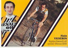 CYCLISME carte cycliste ALAIN VIGNERON équipe RENAULT elf GITANE 1982