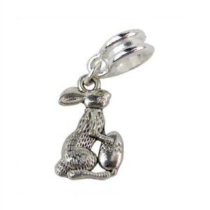 Easter bunny egg charm bead bracelet animal traditional slide silver rabbit uk