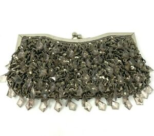 """Vintage Jeweled Clutch Kiss Clasp Short Chain Taupe Prom Wedding Evening 10""""x5"""""""