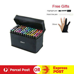 80+3 Colors Double Heads Marker Pen Set Art Sketching Painting Drawing Markers