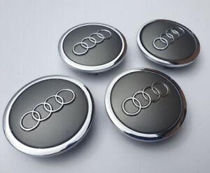 4x 68mm Audi Genuine Alloy Wheel Centre Caps - Grey OEM 4B0601170