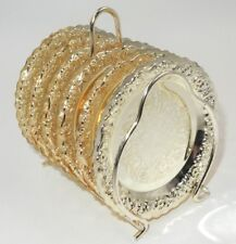 SET OF 6 CORBELL SILVER QUEEN ANNE SILVER PLATE COASTERS W/ STAND