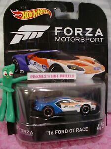 Forza Automovilismo '16 Ford GT RACE Azul / Blanco; Real Riders 2017 hot wheels