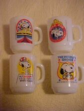Vtg Anchor Hocking Snoopy For President White Glass Mugs1980 Collector Series
