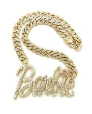 """NEW Barbie Pendant With 12mm 18"""" Ice Bling Cuban Link Chain Necklace"""