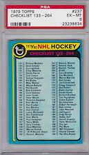 1979 / 80 TOPPS #237 NHL HOCKEY CHECKLIST 133 - 264 PSA 6 EX/MT tough!