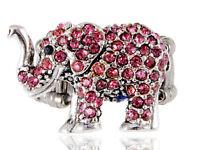Tiny Cute Pink Rose Rhinestone Gems African Safari Playful Elephant Ring Jewelry