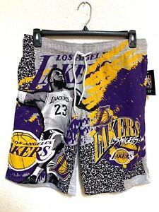 NWT NBA Lebron James Los Angeles Lakers mens draw string shorts Size LARGE gray