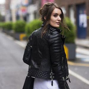 Women Black Slim Fit Biker Diamond Quilted Kay Michaels Real Leather Jacket