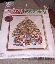 Sunset Stitchery Christmas Tree Fantasy Crewel Embroidery kit 16 X 20 1978 NEW