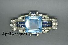 American Art Deco Vintage 40s Azul Agua Grande de diamantes de imitación Pin Broche