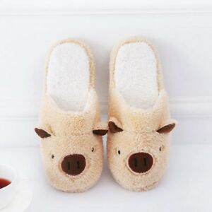 Plush Cute Indoor Cotton Slippers Flip Flop Couple Slippers Lovely Pig Slippers
