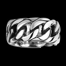 Fashion 316L stainless steel punk ring Antique Silver Link Chain Style Sz 9 IF1R