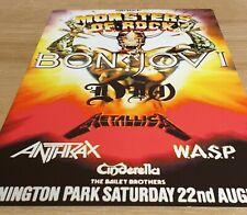 More details for bon jovi metallica monsters of rock castle donington 1987 8x12 inch metal sign