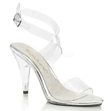 """Pleser Caress-412 Shoes Sandals 4"""" High Heels Platform Ankle Wrap Clear Silicone"""