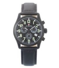 St. Moritz Black Leather Strap Chronograph Watch GS03608/19 in Box