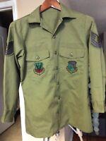 Vtg 70's USAF Shirt Utility Olive Green Durable Press Army Shade 507