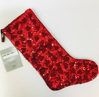 Kim Seybert Red Christmas Stocking Full Front Sequin and Beads Holiday Decor