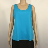Chico's Size 2 Microfiber Tank Top Sleeveless Shell Blue Turquoise