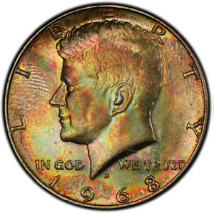 MS63 1968-D 50C Kennedy Silver Half Dollar, PCGS Secure- Vivid Rainbow Toned