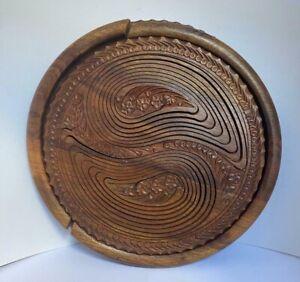 Dark Wooden Round Shape Fruit Basket