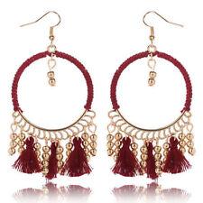 Red Fabric Tassel Gold Beads Chain Hook Dangle Round Bohemian Earrings UK