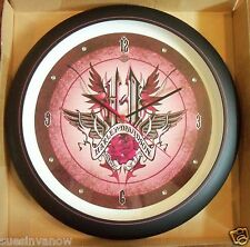 """New Genuine Harley Davidson 13"""" Pink Wing Womans Sound Boxed Wall Clock Biker"""